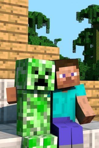A cute Minecraft wallpaper of an adorable interaction of the characters in a friendly hug.