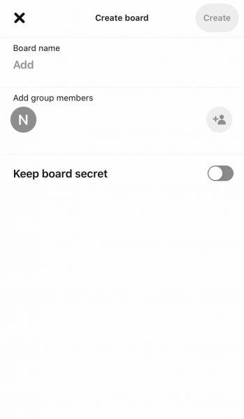 Create Board using Pinterest App
