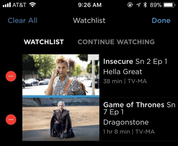 HBO Now watchlist