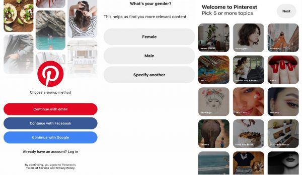 creating an account on Pinterest