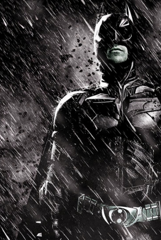Batman under the rain in a black and white background