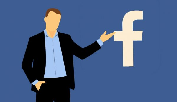 an animated graphics of a man pointing on a Facebook logo.