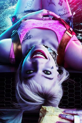 Harley Quinn is looking at you in an upside down view. She is trying to seduce you so make her your phone's lock screen.