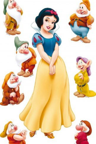Beautiful Princess Snow White and the 7 Dwarfs in white background