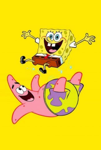 Spongebob and Patrick having fun in a yellow background.