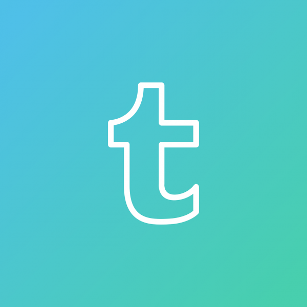 Tumblr logo in blue-green background