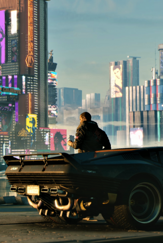 A cool Cyberpunk 2077 wallpaper of a male character leaning against the side of a car in the city.