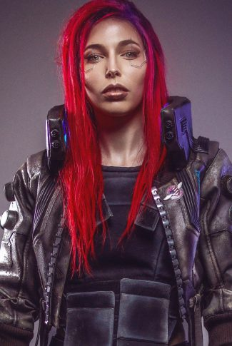 A Cyberpunk 2077 portrait wallpaper of a red-haired badass female character.