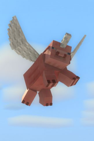 A Minecraft wallpaper of a pixelated pig with wings flying in the air.