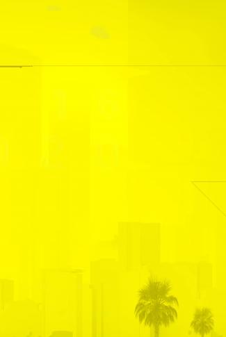 A minimalist Cyberpunk 2077 artwork wallpaper of a city in bright yellow.