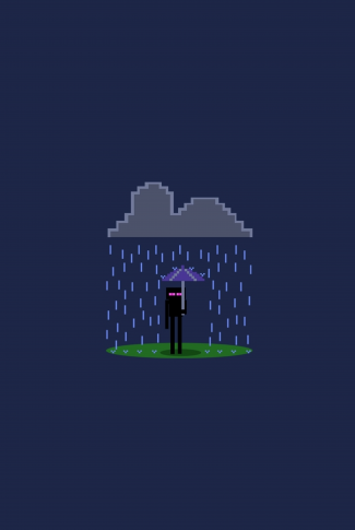 A minimalist Minecraft wallpaper of a person with an umbrella under a pixelated rain.