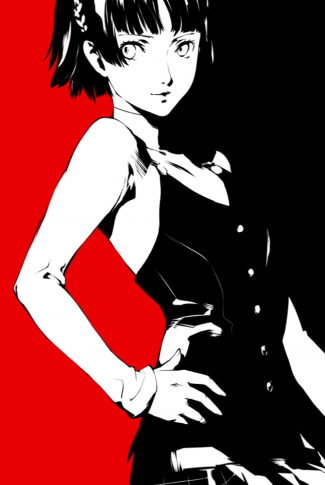 A funky Persona 5 portrait wallpaper of Makoto Niijima in a red and black background.
