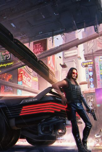 A cool Cyberpunk 2077 wallpaper of John Wick leaning against a car's trunk in the middle of the city.