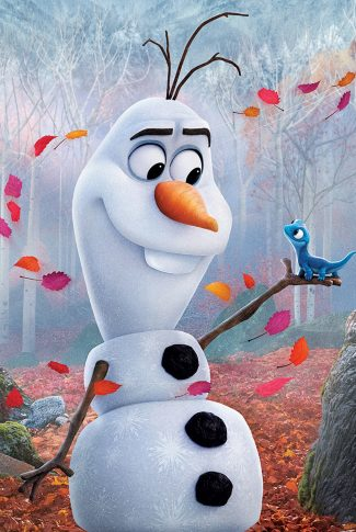 A beautiful Frozen 2 portrait wallpaper of Olaf holding an adorable Bruni.