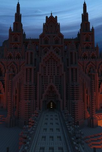 A Minecraft wallpaper of a pixelated grand castle.