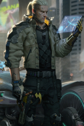 A cool Cyberpunk 2077 wallpaper of a male cyborg looking over a holographic tablet.
