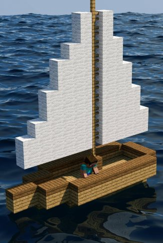 A Minecraft wallpaper of a man on a boat sailing through the waters.