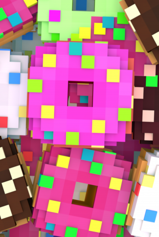 A cute Minecraft wallpaper of delicious-looking pixelated, sprinkled, colorful doughnuts.