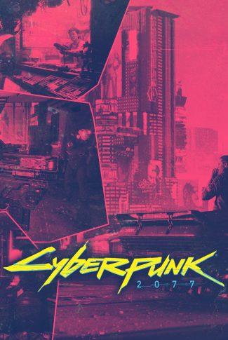 A Cyberpunk 2077 artwork poster wallpaper in red.
