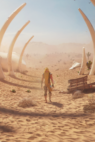 A cool Fortnite wallpaper of one of the game's settings, a desert.