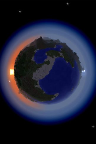 A cool Minecraft wallpaper of a pixelated Earth.