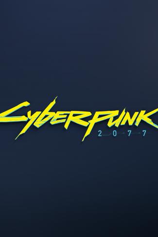 A classic Cyberpunk 2077 title wallpaper in a dark blue background.