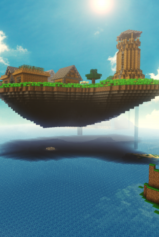 An awesome Minecraft wallpaper of a floating island.