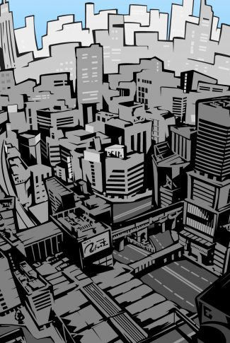 A funky Persona 5 artwork wallpaper of a city in the style of comics.