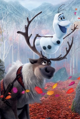 An adorable Frozen 2 wallpaper of Sven and Olaf grabbing for Olaf's carrot nose.