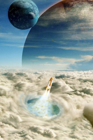 A cool wallpaper of planets in the galaxy and a rocket blasting through the sky.