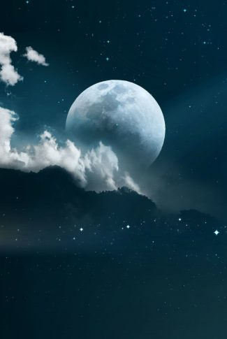 A beautiful wallpaper of a planet in the starry sky and behind white clouds.