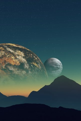 A stunning wallpaper of planets behind silhouettes of mountains.