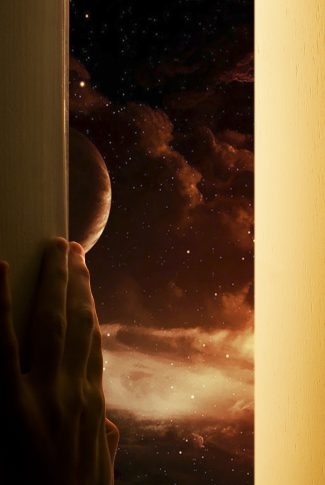 A beautiful wallpaper of a person opening a door and looking at a stunning planet scenery in the galaxy.
