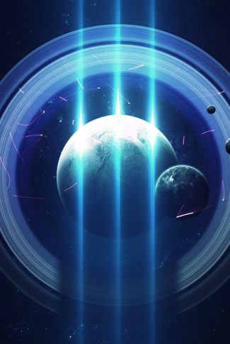 A cool wallpaper of planets, rings around the planet, and beams of light in the middle.