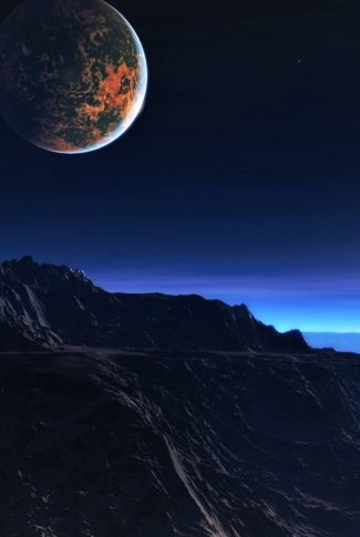 A beautiful wallpaper of a planet in the night sky by the mountain.