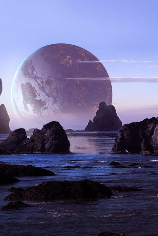A cool wallpaper of a planet by the rocky ocean.