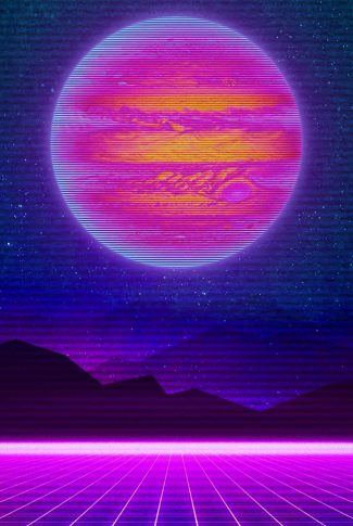 A cool artwork wallpaper of a planet scenery in retro style.