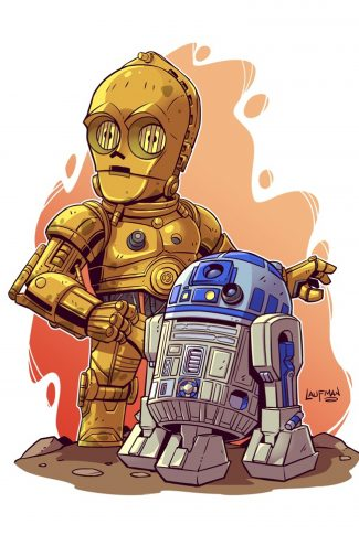 Download Star Wars A Cute C 3po And R2 D2 Artwork Wallpaper Cellularnews