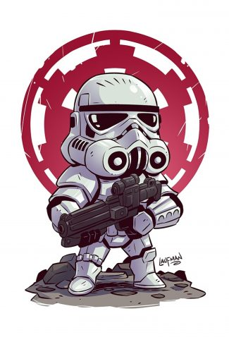 48 star wars a cute stormtrooper with a gun artwork