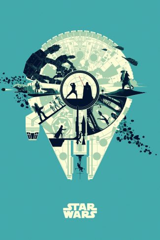 A beautiful and minimalist Star Wars artwork wallpaper with the Millennium Falcon as the main subject.