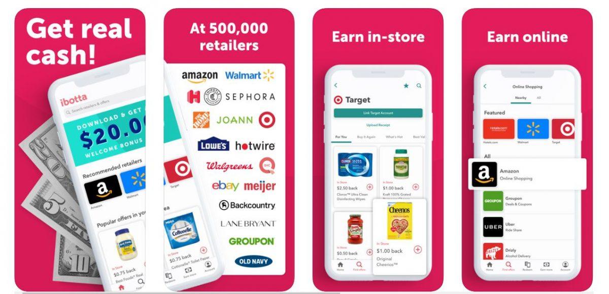 Ibotta Save & Earn Cash Back money making apps