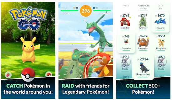 sample of Pokémon Go in mobile display
