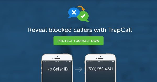 Trapcall logo on 2 private number call