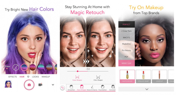 sample of YouCam Makeup in mobile display