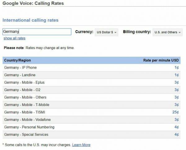 google voice rates