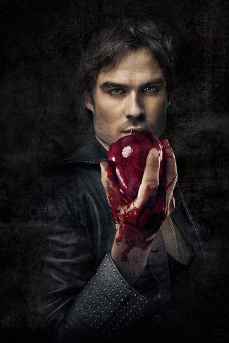 An eerie The Vampire Diaries character poster of Damon Salvatore holding a blood-covered fruit.