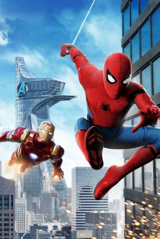 A cool Spider-Man: Homecoming wallpaper of Spider-Man with Iron Man in the air.