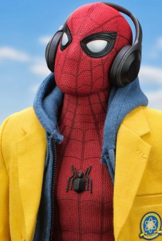 A Spider-Man: Homecoming wallpaper of Spider-Man with his school coat and headphones on.