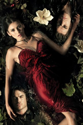 A cool The Vampire Diaries Season 2 promotional poster with Damon Salvatore, Stefan Salvatore, and Elena Gilbert laying on the water.