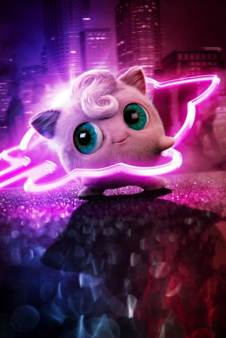 A Pokemon Detective Pikachu character poster of Jigglypuff with its outline in neon lights.